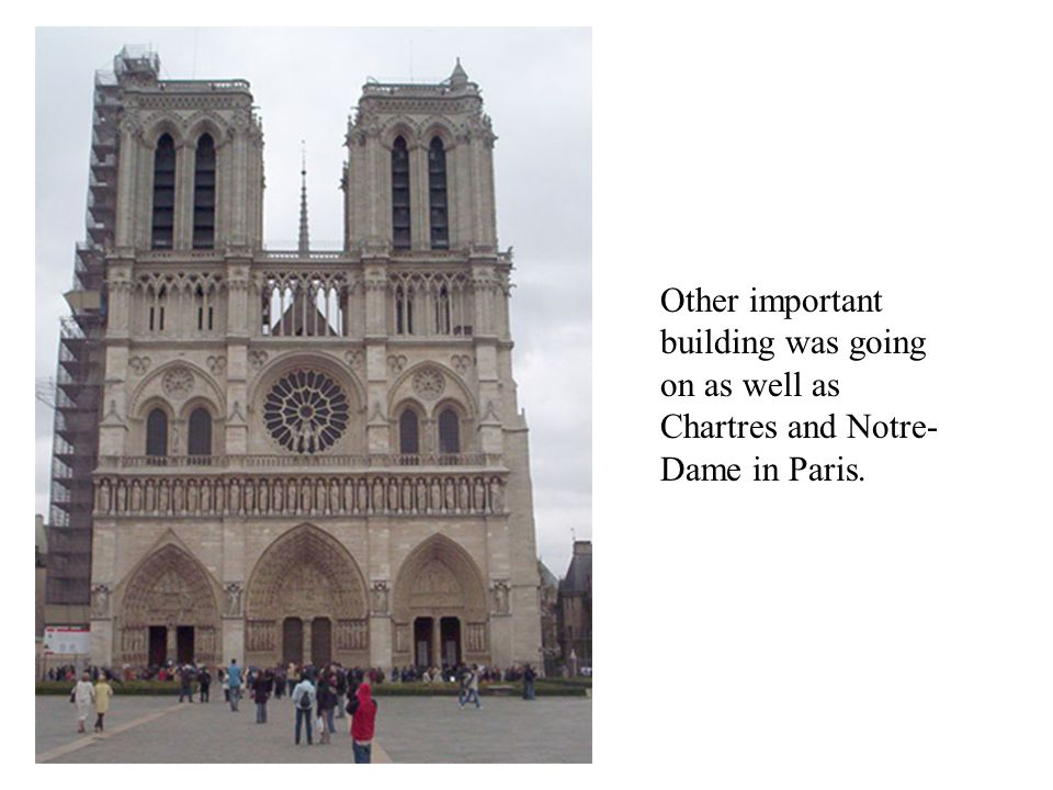 Other important building was going on as well as Chartres and Notre- Dame in Paris.
