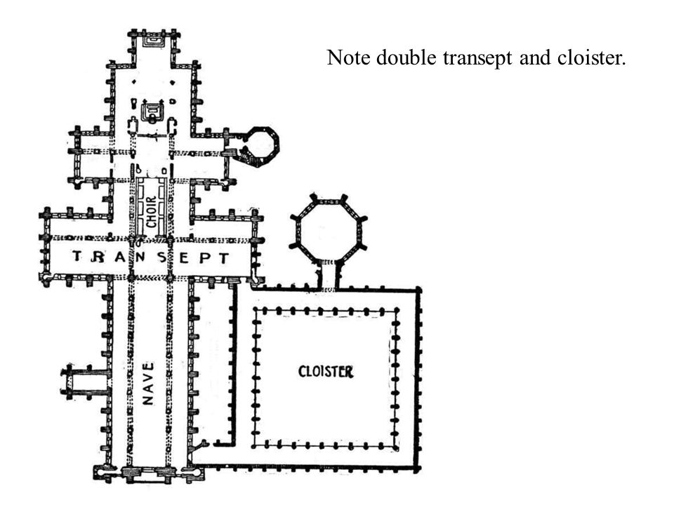 Note double transept and cloister.