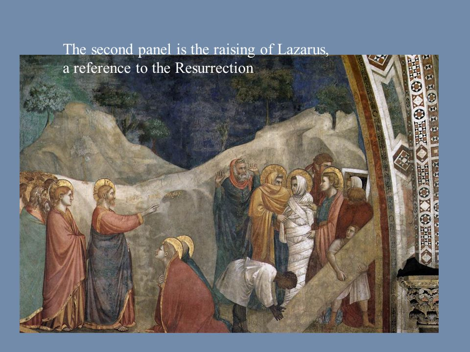 The second panel is the raising of Lazarus, a reference to the Resurrection.