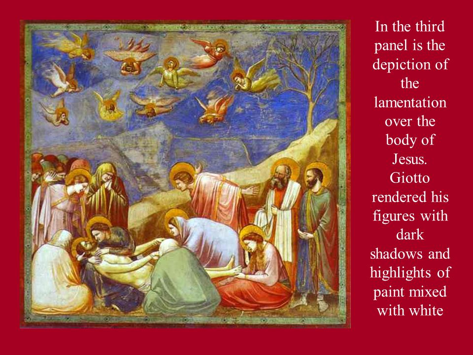 In the third panel is the depiction of the lamentation over the body of Jesus.