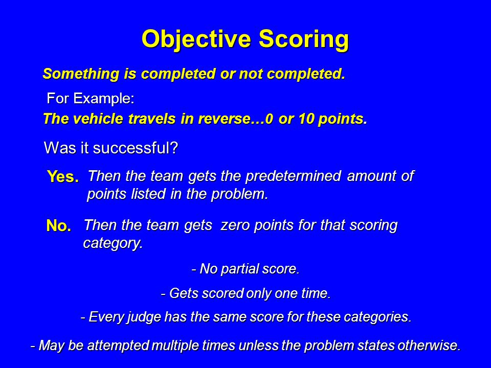 Subjective Scoring Subjective scoring is assessed based on the opinion of the judge.