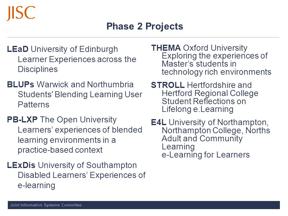 Phase 2 Projects LEaD University of Edinburgh Learner Experiences across the Disciplines BLUPs Warwick and Northumbria Students Blending Learning User Patterns PB-LXP The Open University Learners' experiences of blended learning environments in a practice-based context LExDis University of Southampton Disabled Learners' Experiences of e-learning THEMA Oxford University Exploring the experiences of Master's students in technology rich environments STROLL Hertfordshire and Hertford Regional College Student Reflections on Lifelong e.Learning E4L University of Northampton, Northampton College, Norths Adult and Community Learning e-Learning for Learners