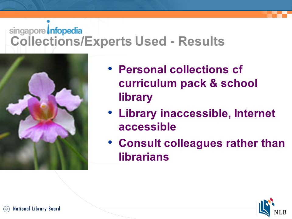 Collections/Experts Used - Results Personal collections cf curriculum pack & school library Library inaccessible, Internet accessible Consult colleagues rather than librarians