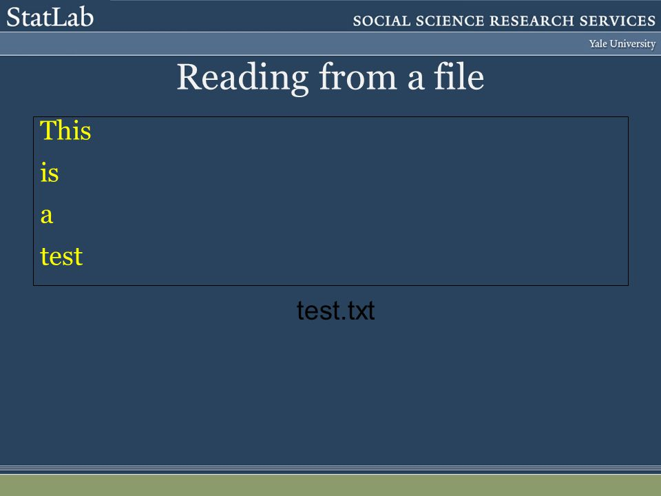 Reading from a file This is a test test.txt