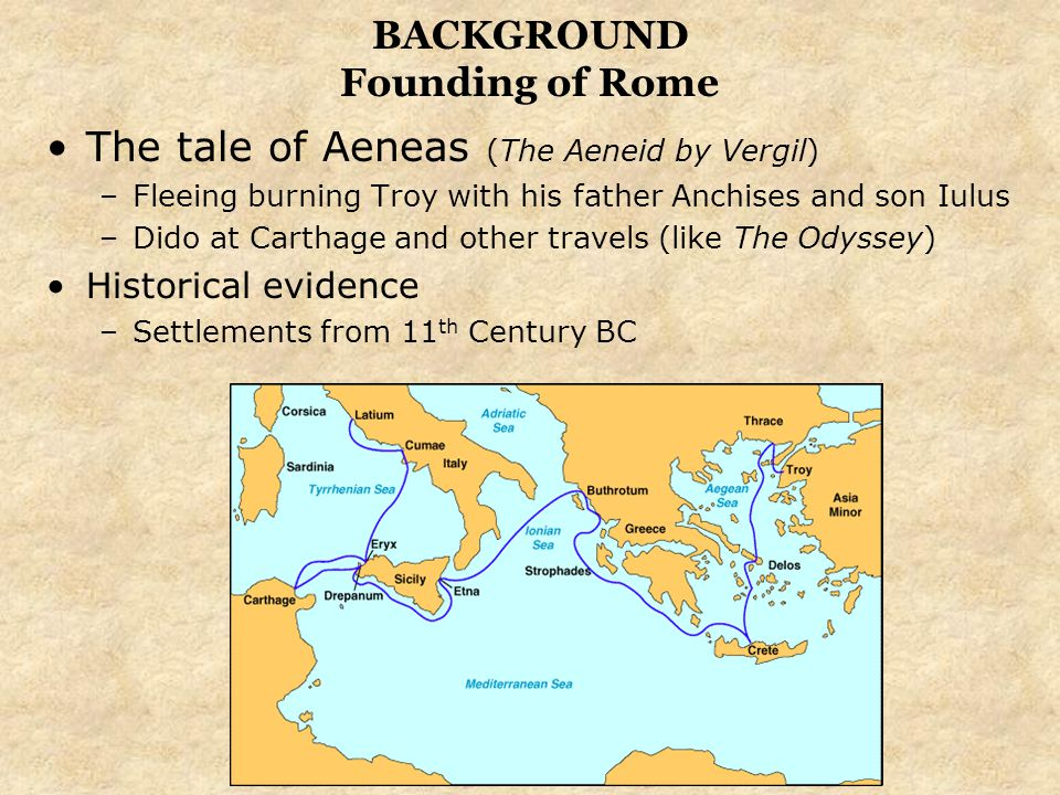 BACKGROUND Founding of Rome The tale of Aeneas (The Aeneid by Vergil) –Fleeing burning Troy with his father Anchises and son Iulus –Dido at Carthage a