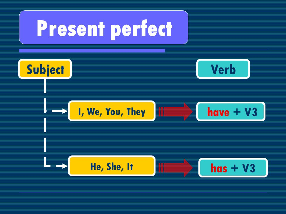 Present perfect SubjectVerb I, We, You, They He, She, It have + V3 has + V3