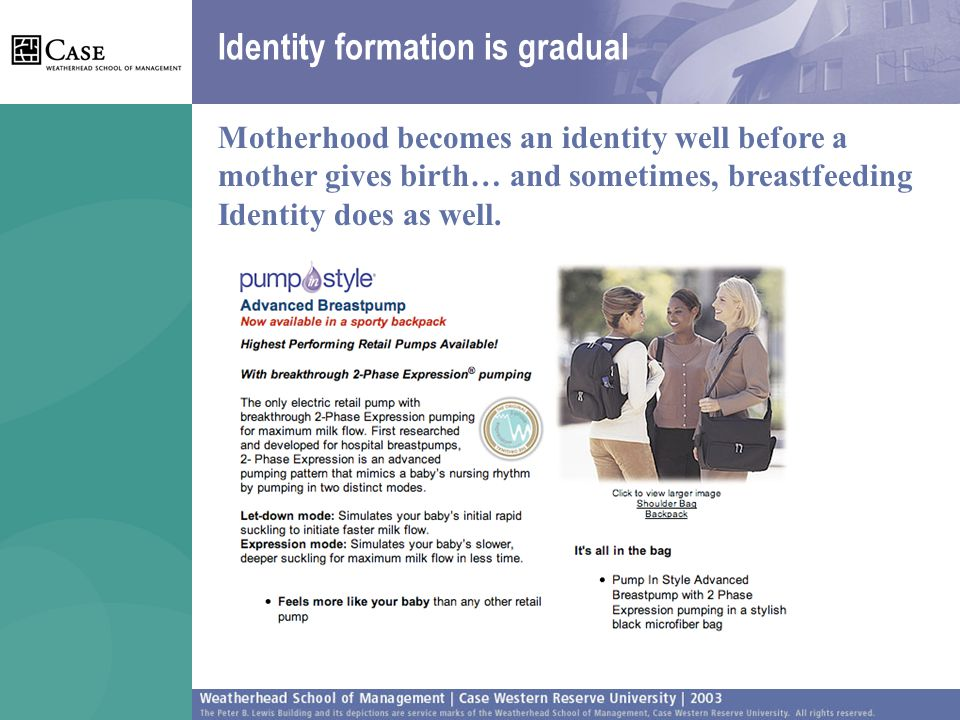 Identity formation is gradual Motherhood becomes an identity well before a mother gives birth… and sometimes, breastfeeding Identity does as well.