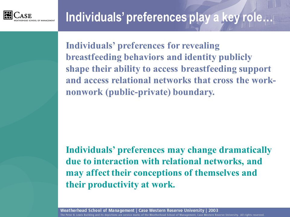 Individuals' preferences play a key role… Individuals' preferences for revealing breastfeeding behaviors and identity publicly shape their ability to access breastfeeding support and access relational networks that cross the work- nonwork (public-private) boundary.