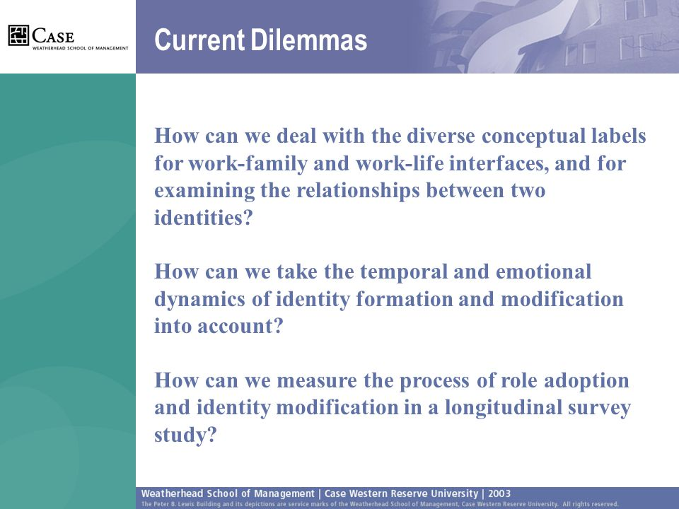 Current Dilemmas How can we deal with the diverse conceptual labels for work-family and work-life interfaces, and for examining the relationships between two identities.