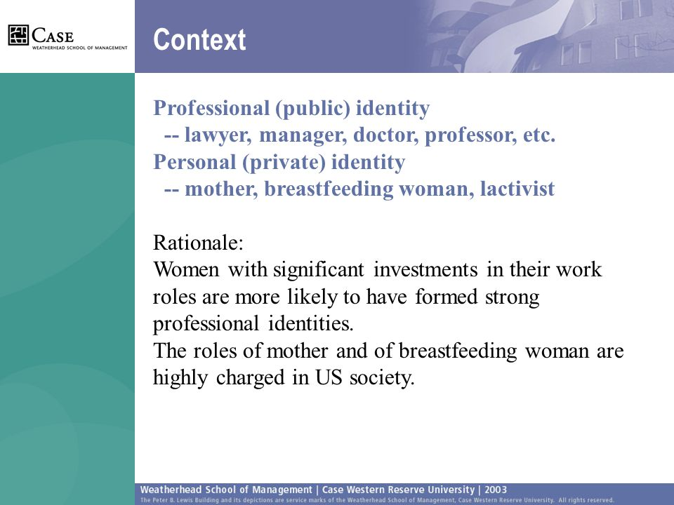 Context Professional (public) identity -- lawyer, manager, doctor, professor, etc.