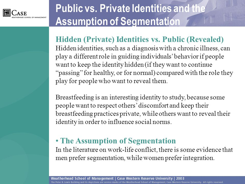 Public vs. Private Identities and the Assumption of Segmentation Hidden (Private) Identities vs.