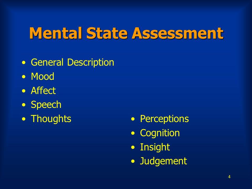 4 Mental State Assessment General Description Mood Affect Speech Thoughts Perceptions Cognition Insight Judgement