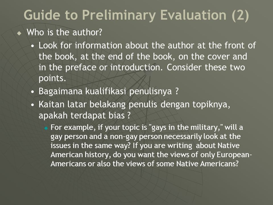 Guide to Preliminary Evaluation (3)   When was it published.