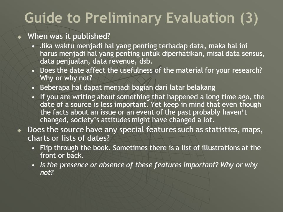 Guide to Preliminary Evaluation (3)   When was it published.