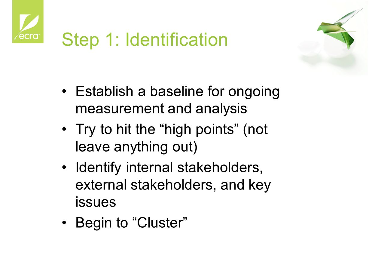 """Step 1: Identification Establish a baseline for ongoing measurement and analysis Try to hit the """"high points"""" (not leave anything out) Identify intern"""