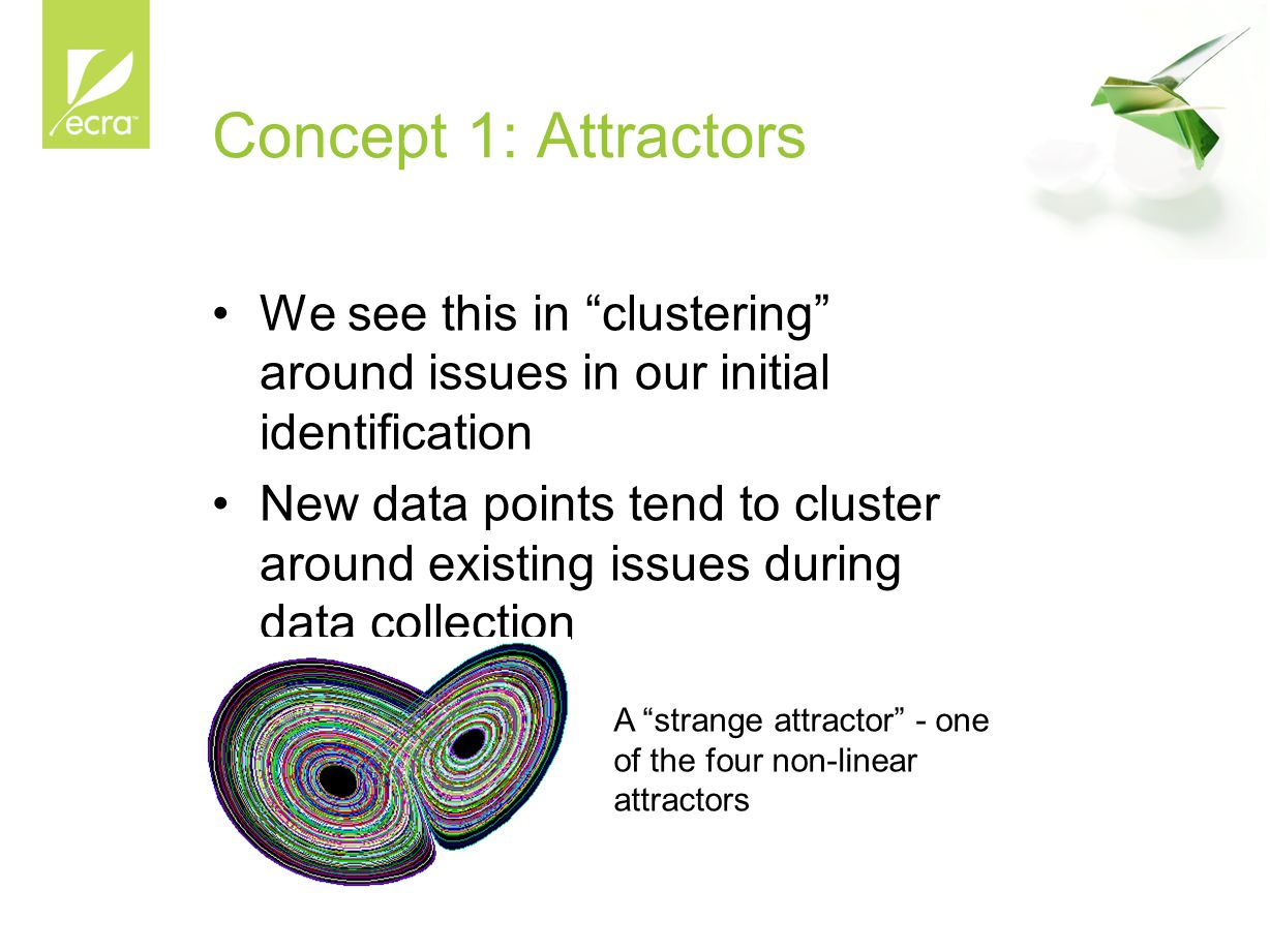 Concept 1: Attractors We see this in clustering around issues in our initial identification New data points tend to cluster around existing issues during data collection Rule of 256 A strange attractor - one of the four non-linear attractors