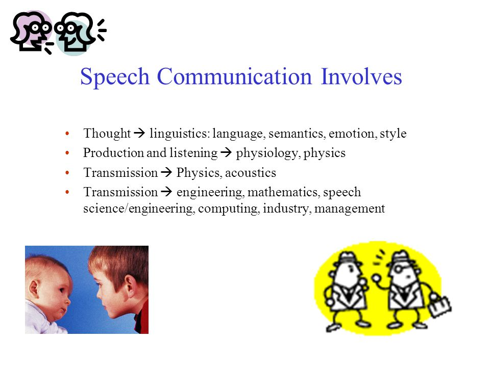 Speech Communication Involves Thought  linguistics: language, semantics, emotion, style Production and listening  physiology, physics Transmission  Physics, acoustics Transmission  engineering, mathematics, speech science/engineering, computing, industry, management