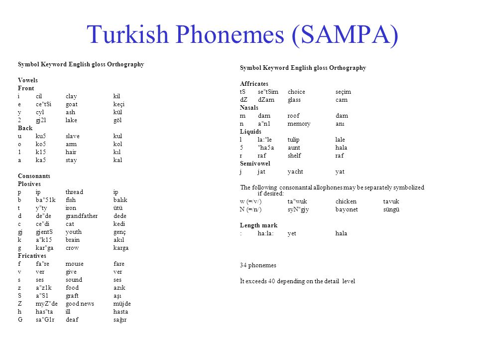 Turkish Phonemes (SAMPA) Symbol Keyword English gloss Orthography Vowels Front i cil clay kil e ce tSi goat keçi y cyl ash kül 2 gj2l lake göl Back u ku5 slave kul o ko5 arm kol 1 k15 hair kıl a ka5 stay kal Consonants Plosives p ip thread ip b ba 51k fish balık t y ty iron ütü d de de grandfather dede c ce di cat kedi gj gjentS youth genç k a k15 brain akıl g kar ga crow karga Fricatives f fa re mouse fare v ver give ver s ses sound ses z a z1k food azık S a S1 graft aşı Z myZ de good news müjde h has ta ill hasta G sa G1r deaf sağır Symbol Keyword English gloss Orthography Affricates tS se tSim choice seçim dZ dZam glass cam Nasals m dam roof dam n a n1 memory anı Liquids l la: le tulip lale 5 ha5a aunt hala r raf shelf raf Semivowel j jat yacht yat The following consonantal allophones may be separately symbolized if desired: w (=/v/) ta wuk chicken tavuk N (=/n/) syN gjy bayonet süngü Length mark : ha:la: yet hala 34 phonemes İt exceeds 40 depending on the detail level