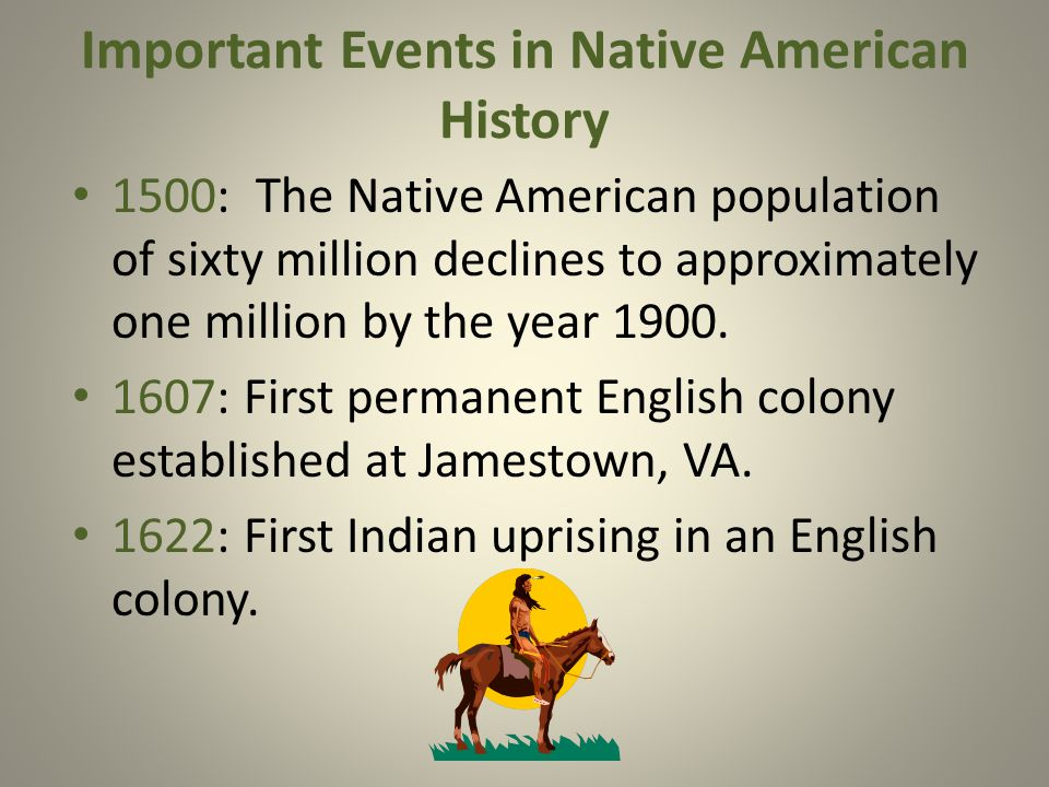 Important Events in Native American History 1500: The Native American population of sixty million declines to approximately one million by the year 1900.