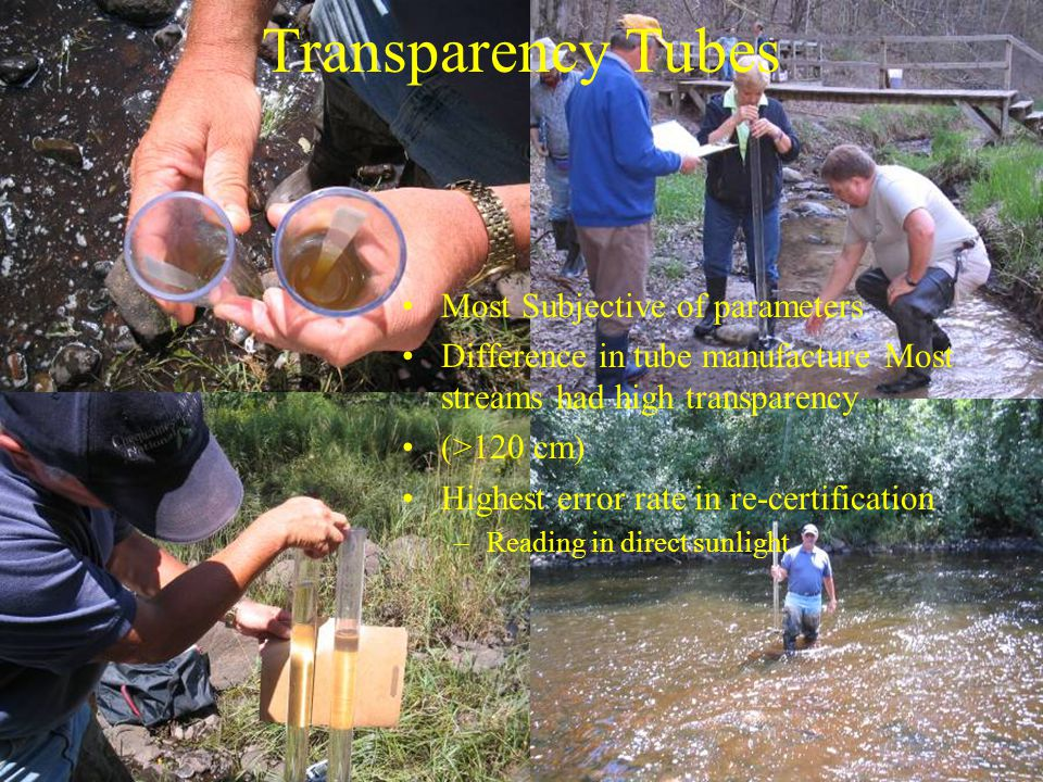 Transparency Tubes Most Subjective of parameters Difference in tube manufacture Most streams had high transparency (>120 cm) Highest error rate in re-certification –Reading in direct sunlight