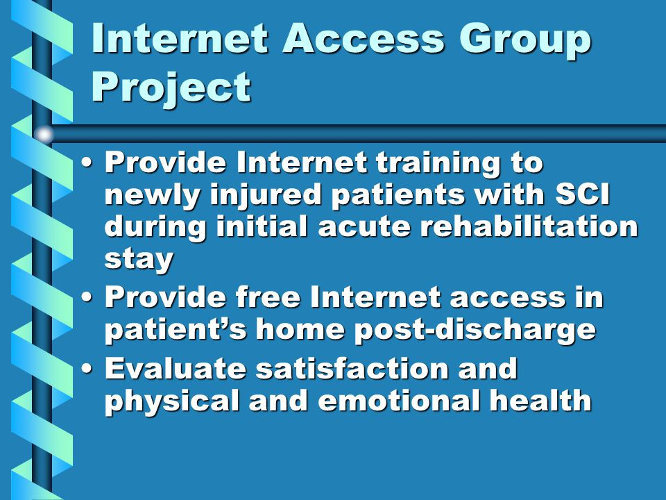 Internet Access Group Project Provide Internet training to newly injured patients with SCI during initial acute rehabilitation stayProvide Internet training to newly injured patients with SCI during initial acute rehabilitation stay Provide free Internet access in patient's home post-dischargeProvide free Internet access in patient's home post-discharge Evaluate satisfaction and physical and emotional healthEvaluate satisfaction and physical and emotional health