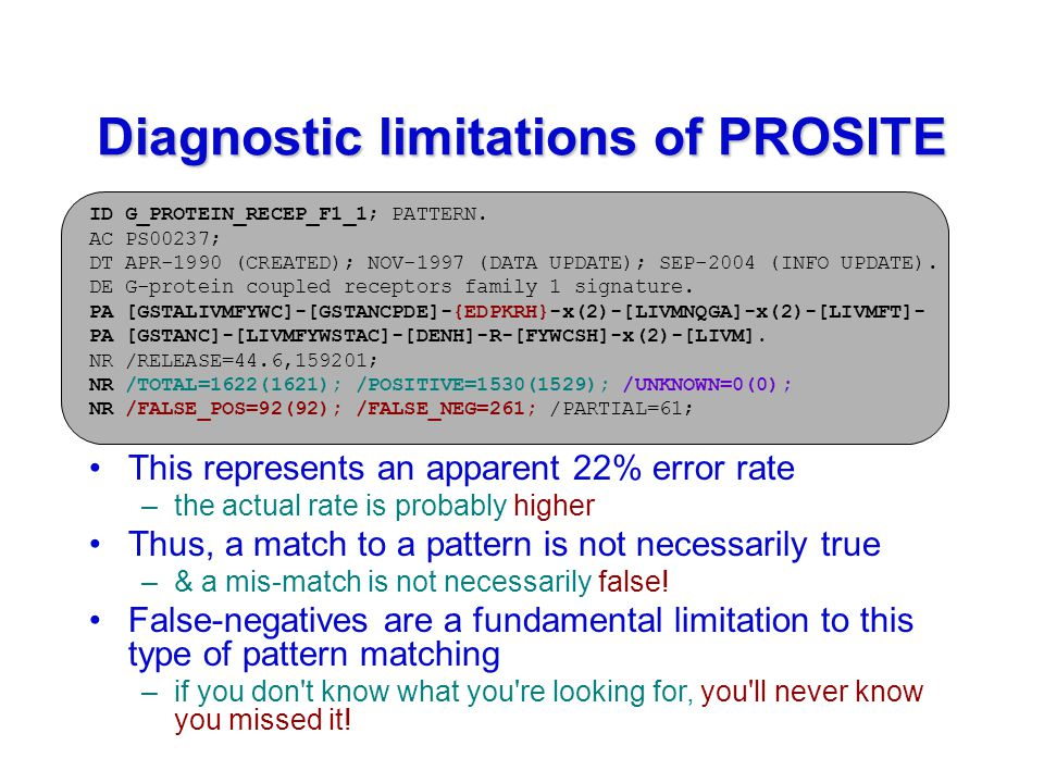 Diagnostic limitations of PROSITE ID G_PROTEIN_RECEP_F1_1; PATTERN.