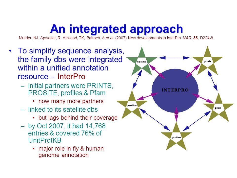 An integrated approach An integrated approach Mulder, NJ, Apweiler, R, Attwood, TK, Bairoch, A et al.
