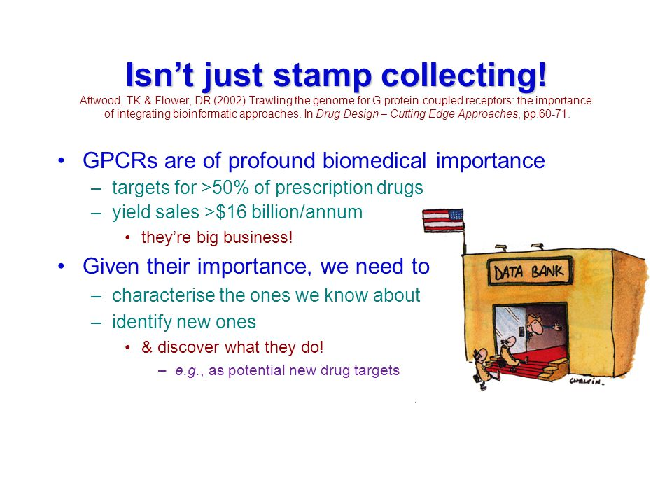 Isn't just stamp collecting! Isn't just stamp collecting! Attwood, TK & Flower, DR (2002) Trawling the genome for G protein-coupled receptors: the imp