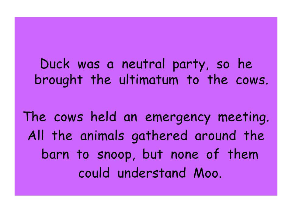 Duck was a neutral party, so he brought the ultimatum to the cows. The cows held an emergency meeting. All the animals gathered around the barn to sno