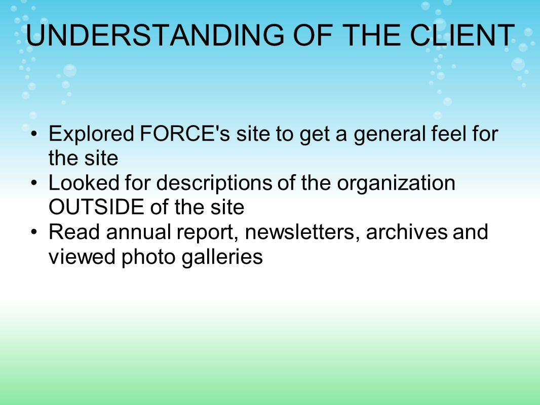 UNDERSTANDING OF THE CLIENT Explored FORCE s site to get a general feel for the site Looked for descriptions of the organization OUTSIDE of the site Read annual report, newsletters, archives and viewed photo galleries