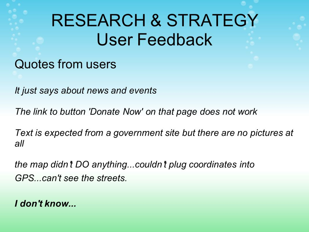 Quotes from users It just says about news and events The link to button Donate Now on that page does not work Text is expected from a government site but there are no pictures at all the map didn t DO anything...couldn t plug coordinates into GPS...can t see the streets.