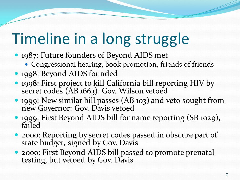 Timeline in a long struggle 1987: Future founders of Beyond AIDS met Congressional hearing, book promotion, friends of friends 1998: Beyond AIDS founded 1998: First project to kill California bill reporting HIV by secret codes (AB 1663): Gov.