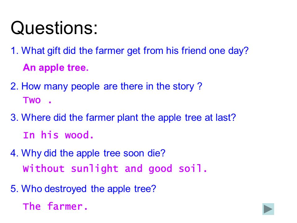 Questions: 1. What gift did the farmer get from his friend one day? 2. How many people are there in the story ? 3. Where did the farmer plant the appl