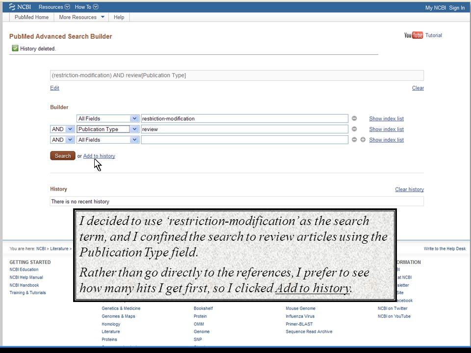 I decided to use 'restriction-modification' as the search term, and I confined the search to review articles using the Publication Type field. Rather