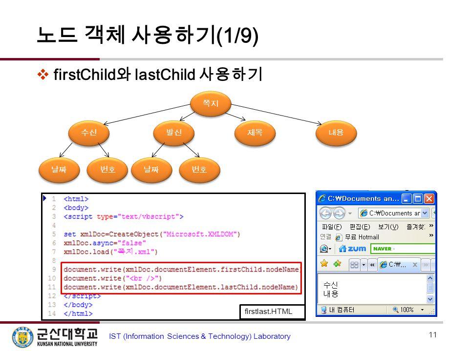 노드 객체 사용하기 (1/9)  firstChild 와 lastChild 사용하기 11 IST (Information Sciences & Technology) Laboratory firstlast.HTML 번호 발신 수신 제목 내용 날짜 번호 날짜 쪽지