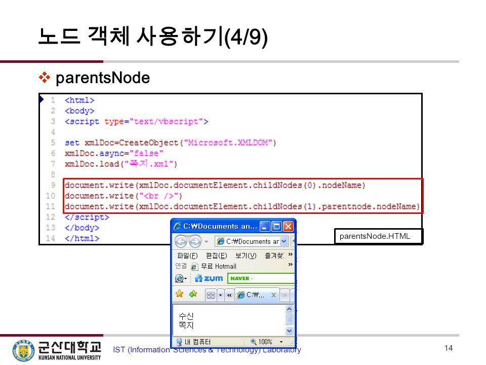 노드 객체 사용하기 (4/9)  parentsNode 14 IST (Information Sciences & Technology) Laboratory parentsNode.HTML