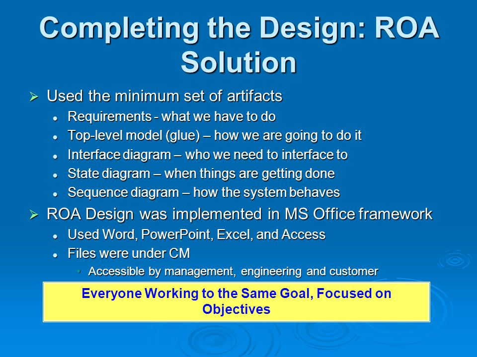 Completing the Design: ROA Solution  Used the minimum set of artifacts Requirements - what we have to do Requirements - what we have to do Top-level model (glue) – how we are going to do it Top-level model (glue) – how we are going to do it Interface diagram – who we need to interface to Interface diagram – who we need to interface to State diagram – when things are getting done State diagram – when things are getting done Sequence diagram – how the system behaves Sequence diagram – how the system behaves  ROA Design was implemented in MS Office framework Used Word, PowerPoint, Excel, and Access Used Word, PowerPoint, Excel, and Access Files were under CM Files were under CM Accessible by management, engineering and customerAccessible by management, engineering and customer Everyone Working to the Same Goal, Focused on Objectives