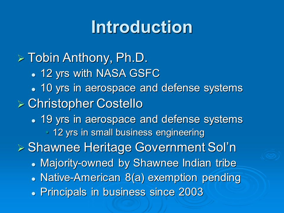 Introduction  Tobin Anthony, Ph.D.