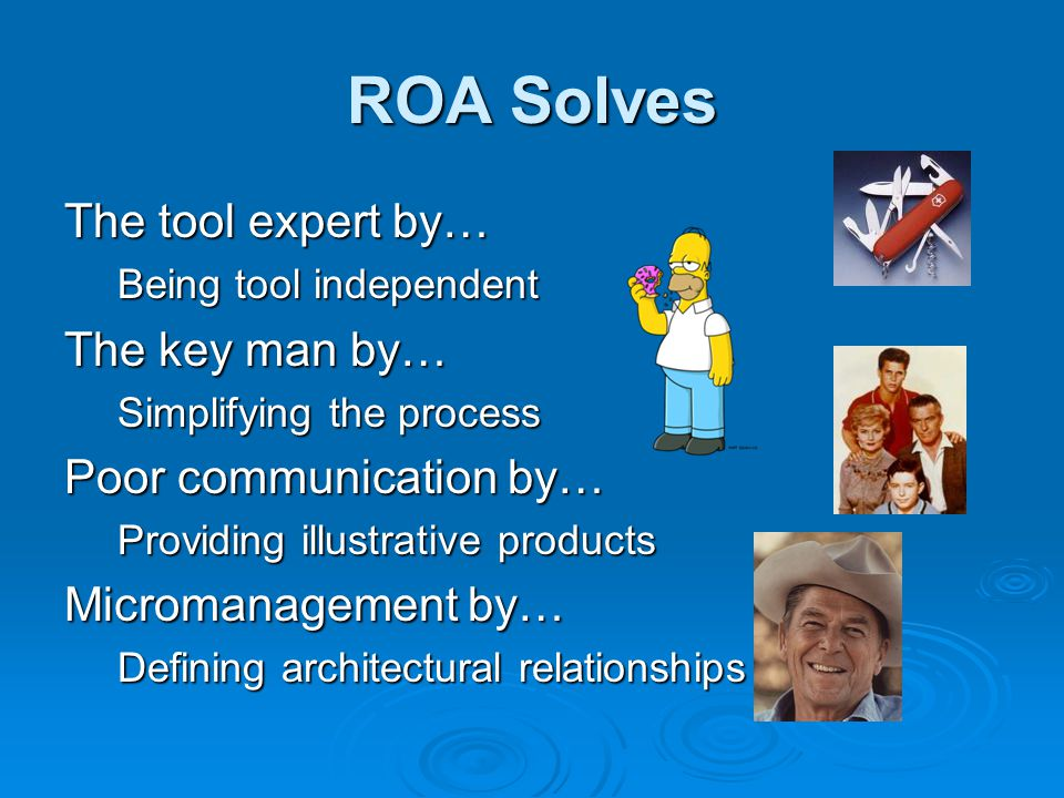 ROA Solves The tool expert by… Being tool independent The key man by… Simplifying the process Poor communication by… Providing illustrative products Micromanagement by… Defining architectural relationships
