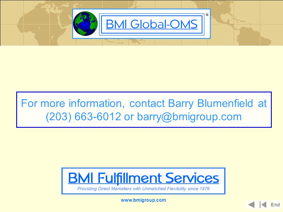 www.bmigroup.com For more information, contact Barry Blumenfield at (203) 663-6012 or barry@bmigroup.com End