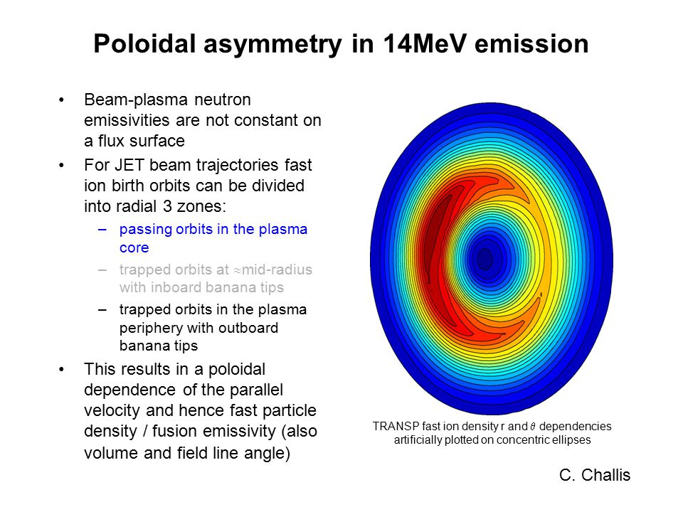 stronger inboard emissivity in core similar inboard/outboard emissivity at r/a  0.6 TRANSP fast ion density r and  dependencies artificially plotted on concentric ellipses Beam-plasma neutron emissivities are not constant on a flux surface For JET beam trajectories fast ion birth orbits can be divided into radial 3 zones: –passing orbits in the plasma core –trapped orbits at  mid-radius with inboard banana tips –trapped orbits in the plasma periphery with outboard banana tips This results in a poloidal dependence of the parallel velocity and hence fast particle density / fusion emissivity (also volume and field line angle) C.