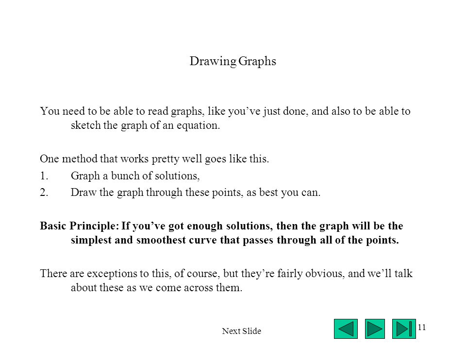 11 Drawing Graphs You need to be able to read graphs, like you've just done, and also to be able to sketch the graph of an equation. One method that w