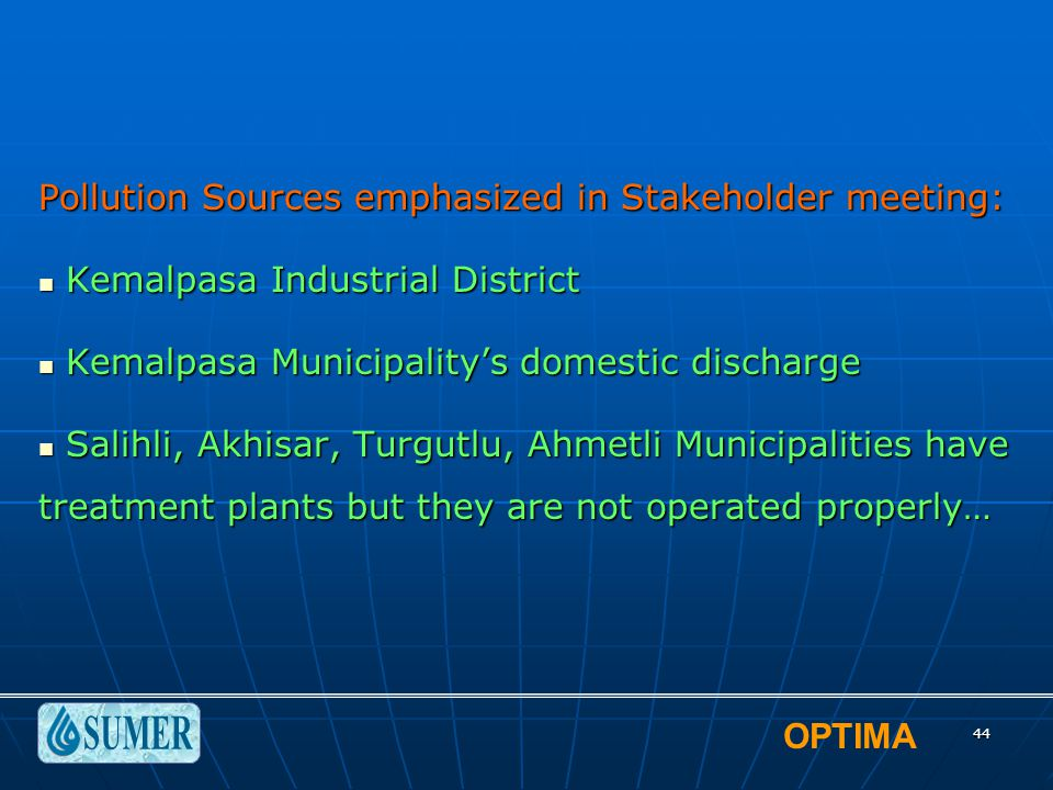 OPTIMA 44 Pollution Sources emphasized in Stakeholder meeting: Kemalpasa Industrial District Kemalpasa Industrial District Kemalpasa Municipality's do