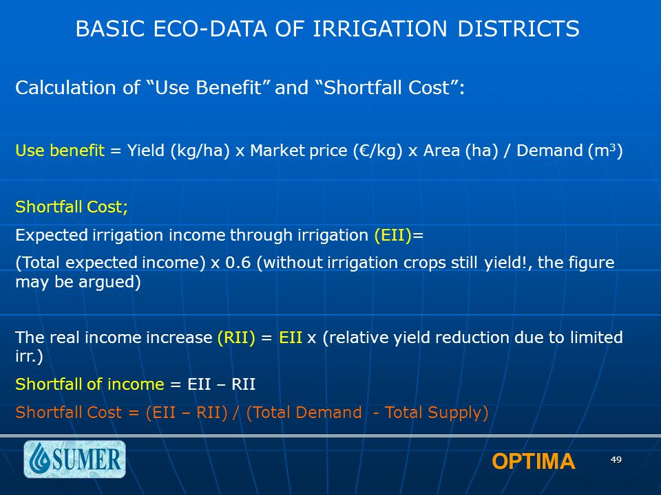 """OPTIMA 49 BASIC ECO-DATA OF IRRIGATION DISTRICTS Calculation of """"Use Benefit"""" and """"Shortfall Cost"""": Use benefit = Yield (kg/ha) x Market price (€/kg)"""