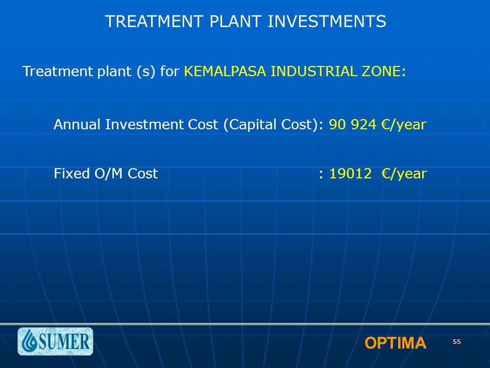 OPTIMA 55 TREATMENT PLANT INVESTMENTS Treatment plant (s) for KEMALPASA INDUSTRIAL ZONE: Annual Investment Cost (Capital Cost): 90 924 €/year Fixed O/