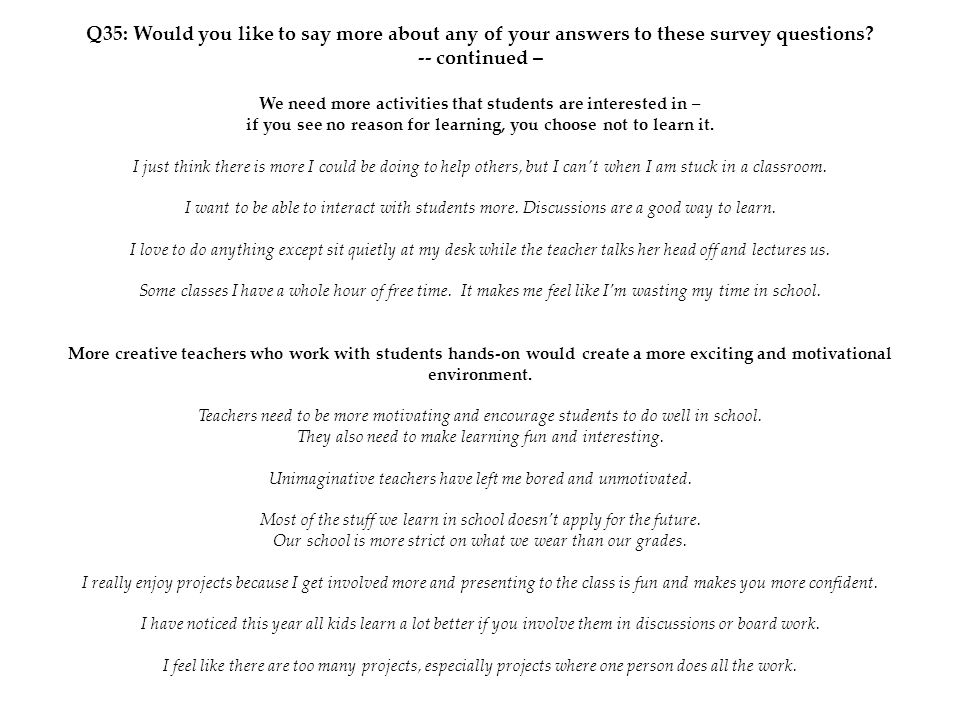 Q35: Would you like to say more about any of your answers to these survey questions? -- continued – We need more activities that students are interest