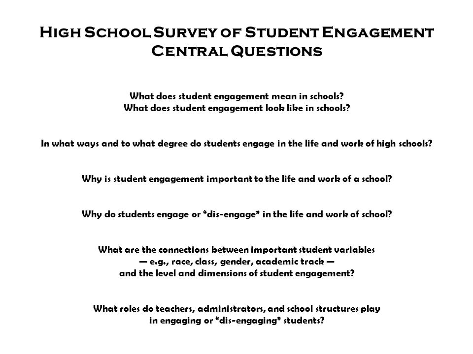 High School Survey of Student Engagement Central Questions What does student engagement mean in schools? What does student engagement look like in sch