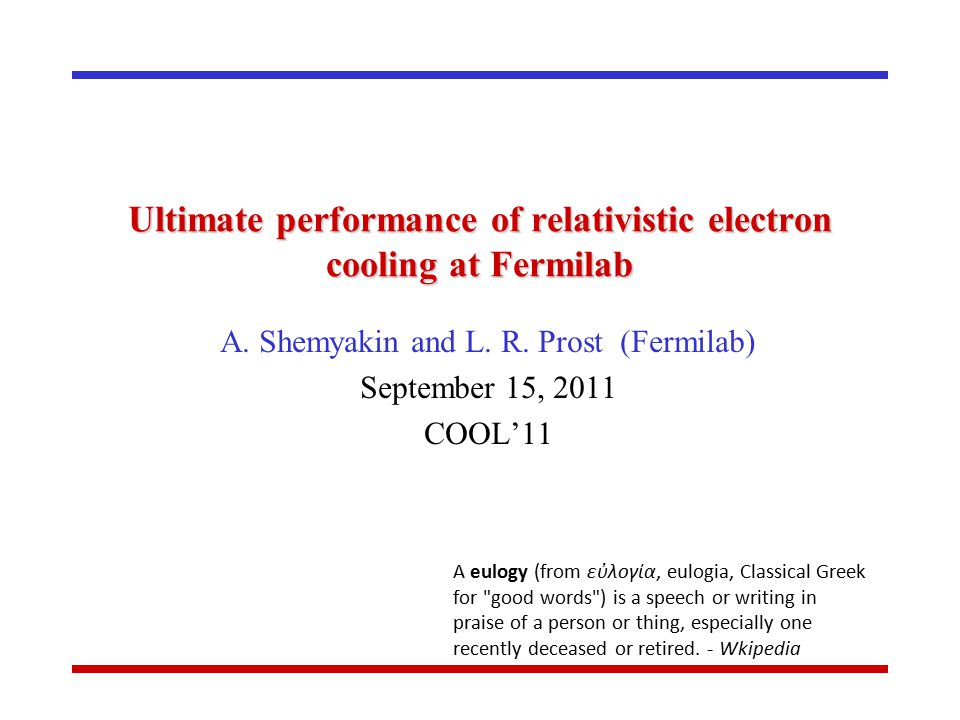 Ultimate performance of relativistic electron cooling at Fermilab A.