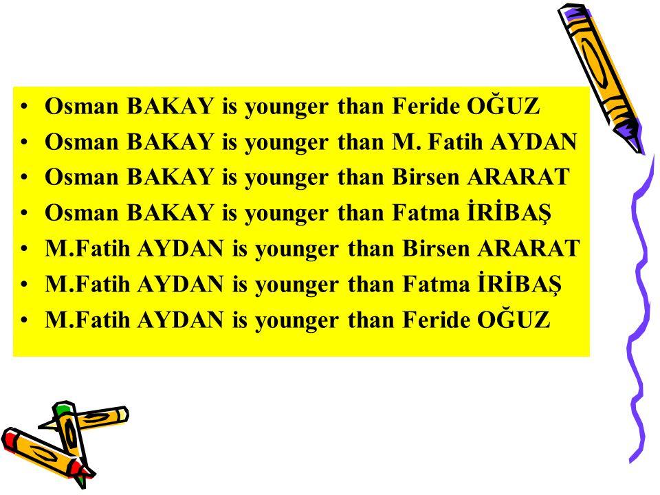 Birsen ARARAT is younger than Feride OĞUZ Fatma İRİBAŞ is younger than Feride OĞUZ Fatma İRİBAŞ is younger than Birsen ARARAT Aylin SAYIN is younger than Birsen ARARAT Aylin SAYIN is younger than Feride OĞUZ Aylin SAYIN is younger than M.