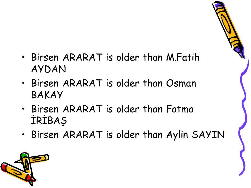 Feride OĞUZ is older than M.Fatih AYDAN Feride OĞUZ is older than Osman BAKAY Feride OĞUZ is older than Birsen ARARAT Feride OĞUZ is older than Fatma İRİBAŞ Feride OĞUZ is older than Aylin SAYIN